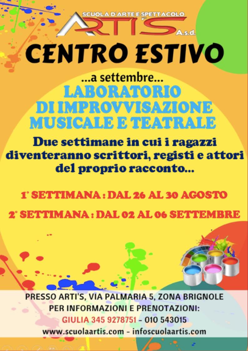 Artis Centro-Estivo-Settembre Eventi, Iniziative, Feste, Spettacoli